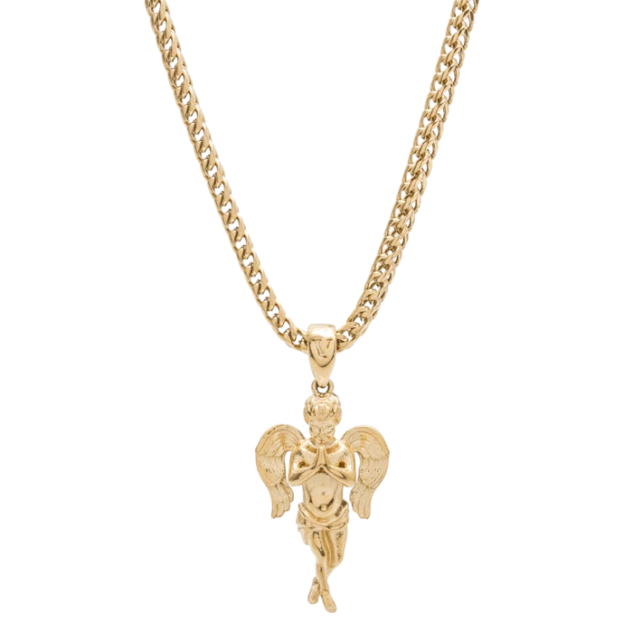 Micro Angel Necklace Gold